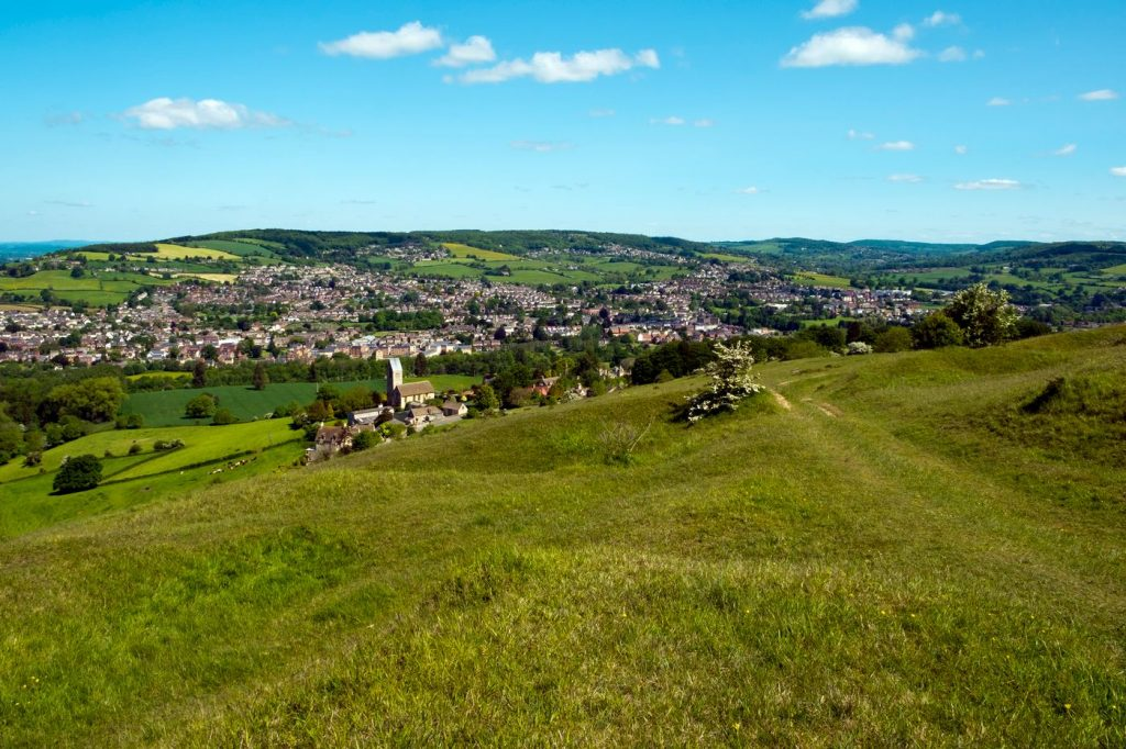 The view over Selsley and the Stroud Valleys from Selsley Common, Cotswolds, Gloucestershire, UK